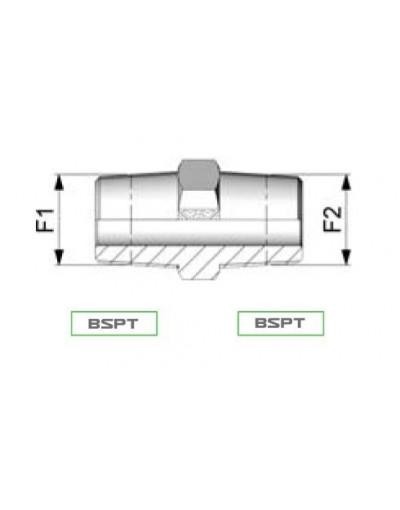 Raccord hydraulique 3/4 BSPT 3/4 BSPT